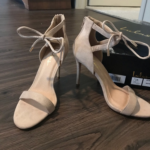 86206b053dc Lulu s Shoes - NEVER WORN LULUS Kate Nude Suede Ankle Strap Heels